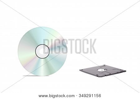 Floppy Disk And Cd Isolated On White Background