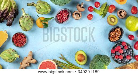 Vegan Food Panorama, Healthy Diet Background. Fruits, Vegetables, Nuts, Legumes, Mushrooms, Shot Fro