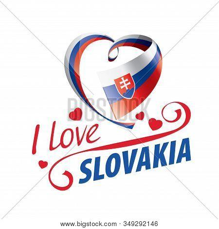 National Flag Of The Slovakia In The Shape Of A Heart And The Inscription I Love Slovakia. Vector Il