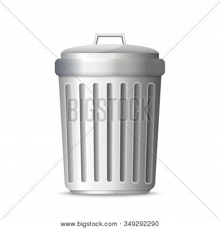 3d Realistic Trashcan. Trash Can Garbage . Template For Your Design