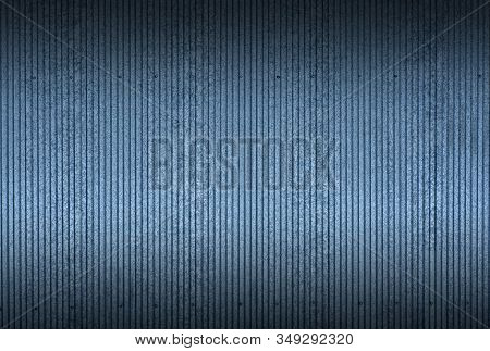 Tin Texture And Pattern Background. Industrial And Building Fence Or Metal Sheets Of Blue Tin.
