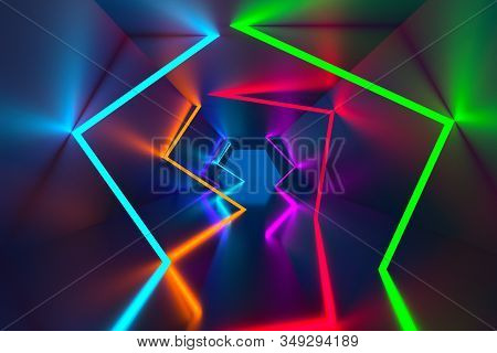 3d Rendering Background, Glowing Lines, Neon Lights, Abstract Psychedelic Background, Ultraviolet, V