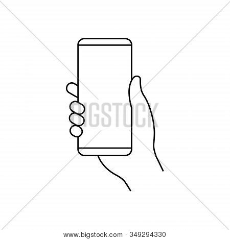 Hand Holding Mobile Phone Vector Icon . Template For Your Design