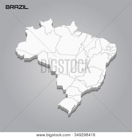 Brazil 3d Map With Borders Of Regions. Vector Illustration