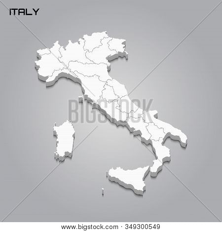 Italy 3d Map With Borders Of Regions. Vector Illustration