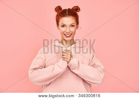 Ecstatic Curly Ginger Woman Excited About Many Sales Started At A Shopping Mall, Fascinated By Aweso