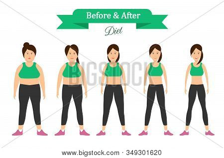 Cartoon Woman Before And After Weight Loss, Sporting And Fitness. Fat And Slim Girl. Vector Illustra