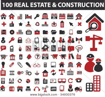 100 real estate & construction icons set, vector