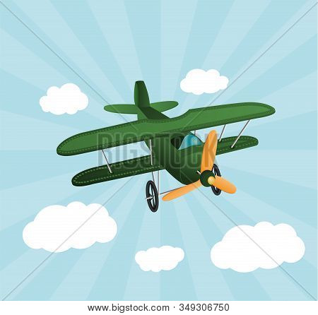 Green Cartoon Plane Flying Over Sky With Clouds. Old Retro Biplane Designed For Poster Printing. Mod