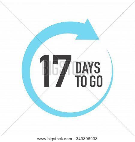 Seventeen Days To Go Icon. Round Symbol With Blue Arrow.