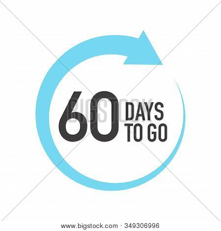 Sixty Four Days To Go Icon. Round Symbol With Blue Arrow.