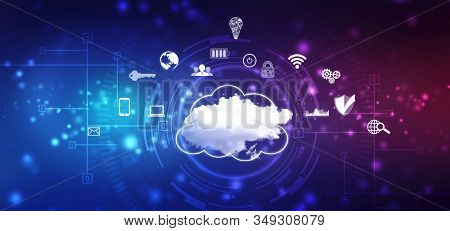 2d Illustration Of  Cloud Computing, Cloud Computing Concept, Cloud Computing Technology Internet Co