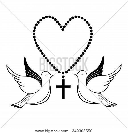 Pigeons And Prayer Beads. Biblical Symbols. Easter Greeting Card.