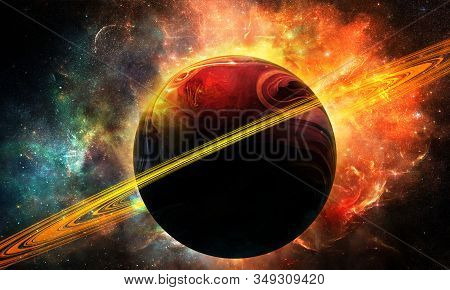 Abstract Space Illustration, 3d Image, Bright Purple Planet Saturn And Space Nebula