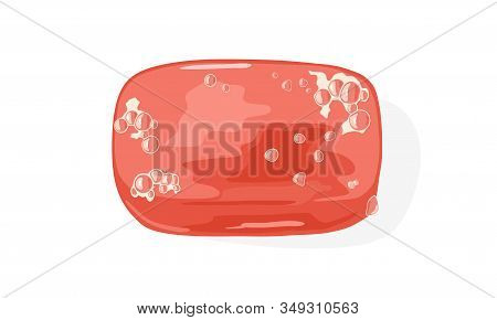 Light Red Plastic Closed Soap Dish, Box Or Holder With Foam Bubbles On Surface. Bathroom, Washroom,