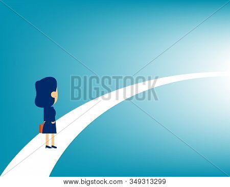 Business Person Looking At The Road For Business Success. Concept Business Challenge Vector Illustra