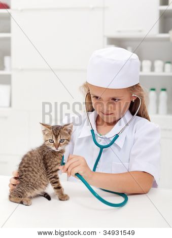 poster of Little girl playing at the veterinary - consulting her little kitten