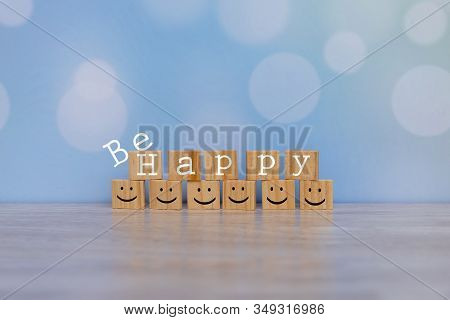 Inspirational Quote - Be Happy. With Happy Face Emotion Graphic Arranged In Stair Shape. Happiness M