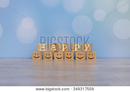 Inspirational Quote - Happy. With Happy Face Emotion Graphic Arranged In Stair Shape. Positive Attit