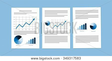 Business Documents, Paperwork Or Business Reports On Blue Background. Vector Illustration.