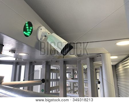 Ip Camera And Green Arrow Indicator On Turnstile