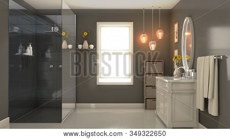An Interior Of A Modern Bathroom With Sandy Brown Walls A Shower Vanity And Mirror And Backlit Windo