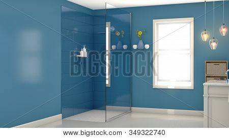 An Interior Of A Modern Bathroom With Blue Walls A Shower Vanity And Mirror And Backlit Window Lit B