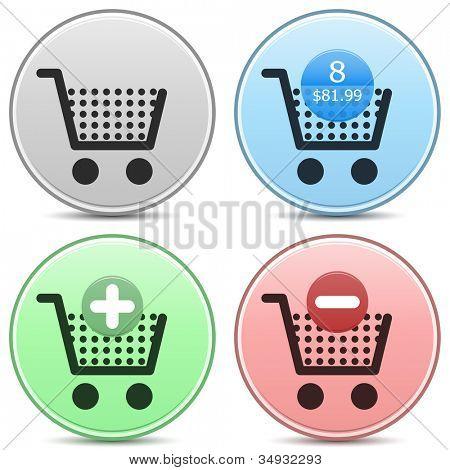 Vector shopping cart trolley icon matte button set. Includes