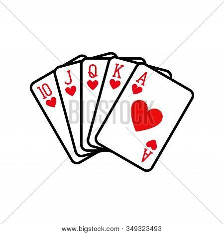 Royal Flush Of Hearts, Playing Cards Deck Colorful Illustration. Poker Cards, Jack, Queen, King And