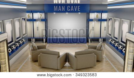 A Well Lit Interior Of A Soccer Themed Man Cave With Sports Memorabilia, Lockers And Large Televisio