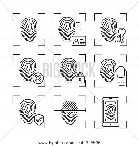 Fingerprint Scan Provides Security Access Black Line Icons Set. Id And Verifying Person. Concept Of: