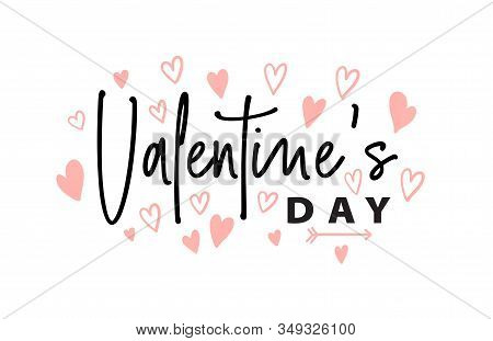 Valentines Day Romantic Greeting Card, Typography Poster With Text And Hearts. Happy Valentines Day