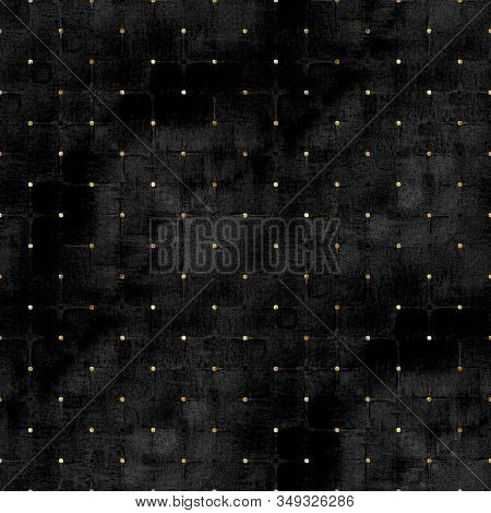 Watercolor Abstract Geometric Black Velvet Stripe Plaid Seamless Pattern With Gold Glitter Polka Dot