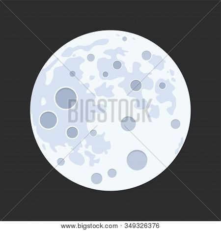 Vector Illustration Of Full Moon Isolated On Black Background. Flat Design Style Of Abstract Moon Su