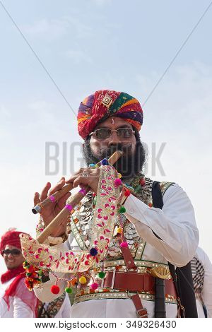 Bikaner, India - January 12, 2019: Indian Handsome Man With A Long Mustaches In National Clothes Pos