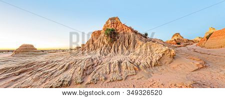 Eroded Desert Landforms  Scenic Panorama In Outback Australia