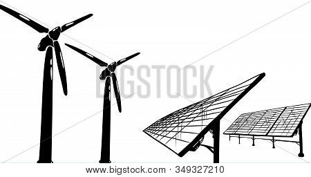 Alternative Energy Vector Concept For India - Wind Turbines And Solar Panels On Flag Background, Use