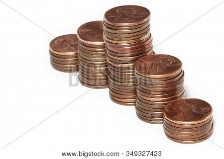 Penny Graph - Five Stacks Of United States Pennies.
