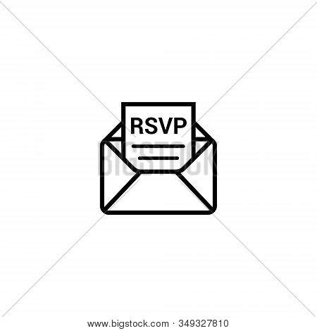 Rsvp Icon Envelope Date Stamp Vector Invitation. Rsvp Message Envelope