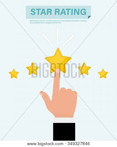 Star Rating. Hand Pointing At One Of Five Stars. Website Rating Feedback And Review Concept. Busines