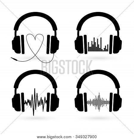Headphones. Set Headphones With Sound Wave Icon
