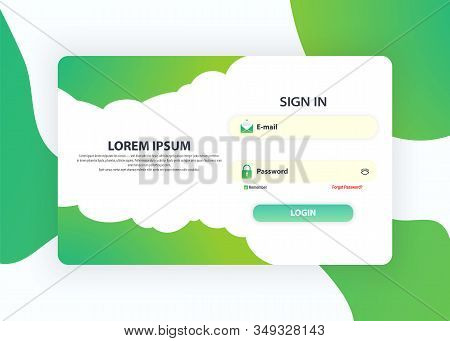 Login Form Page. Web Page Design Templates For Sign In. Ui Design Concept. Login Application With Pa