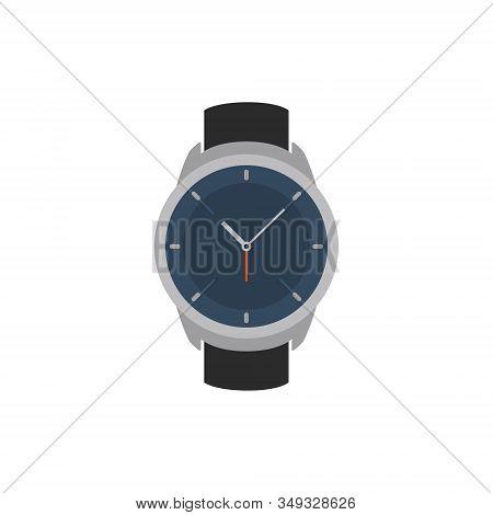 Vector Wrist Watch Icon. Wristwatch Hand Clock Illustration For Men. Swiss Flat Watch