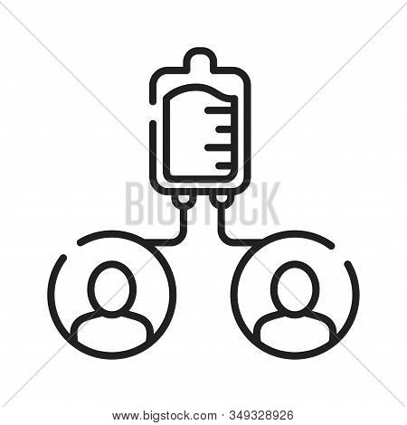 Blood Transfusion Black Line Icon. Donorship, Charity Concept. World Blood Donor Day. Pictogram For
