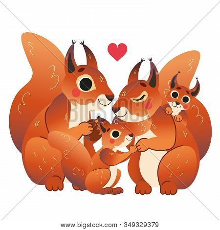 Cute Cartoon Squirrel Family Vector Image. Male And Female Squirrels With Their Pups. Forest Animals