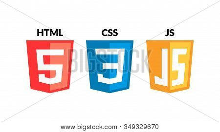 Html5 Css3 Js Icon Set. Web Development Logo Icon Set Of Html, Css And Javascript, Programming Symbo