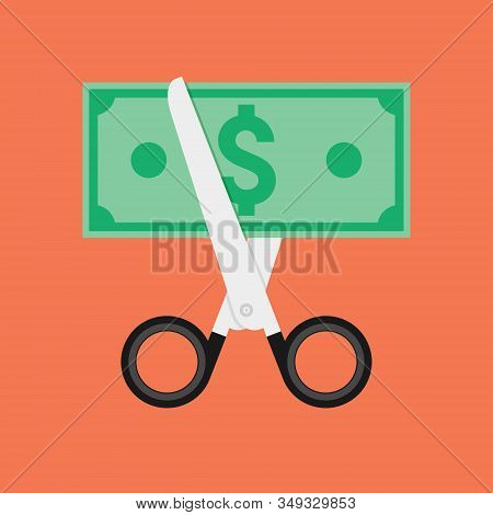 Cost Cut Vector Icon. Price Cheaper Reduce Flat Icon, Reduction Rate Discount