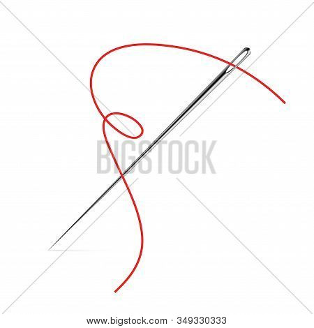 Sewing Needle Vector Icon. Thread Vector Sew Tailor Logo. Isolated Needle Illustration