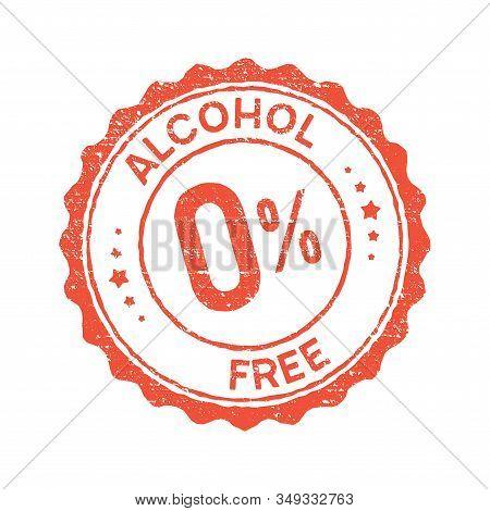 Non Alcoholic Round Vintage Icon Stamp. Zero Alcohol Sign Seal. Alcohol Free Emblem Mark Label