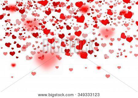 Heart Confetti Of Valentines. Colorful Background With Hart Confetti. Colored Confetti Hearts For Va